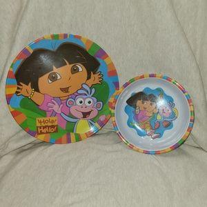 🐠3/$25 Nickelodeon Dora The Explorer Plate & Bowl